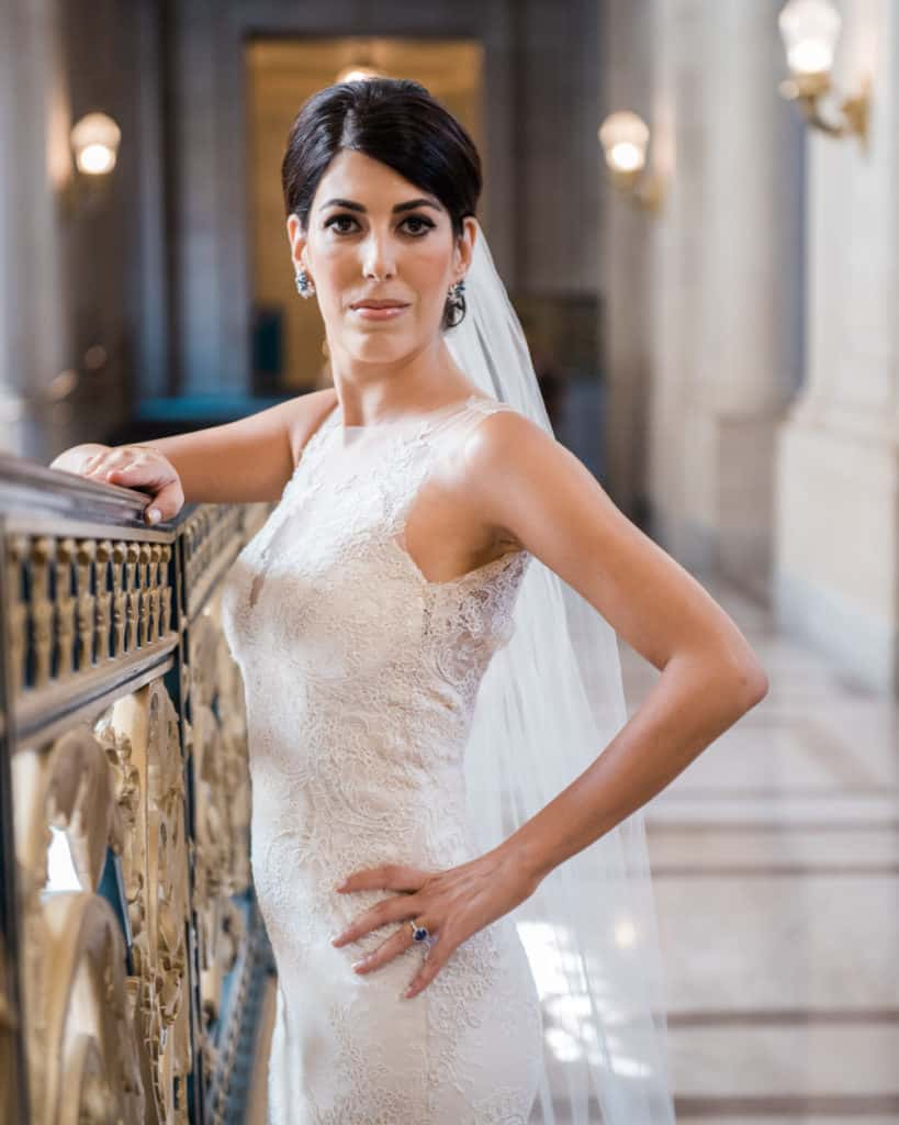 a bride posing on the 2nd floor