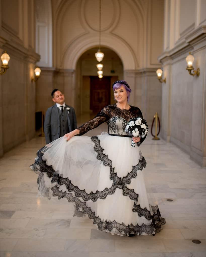 a unique BW wedding gown
