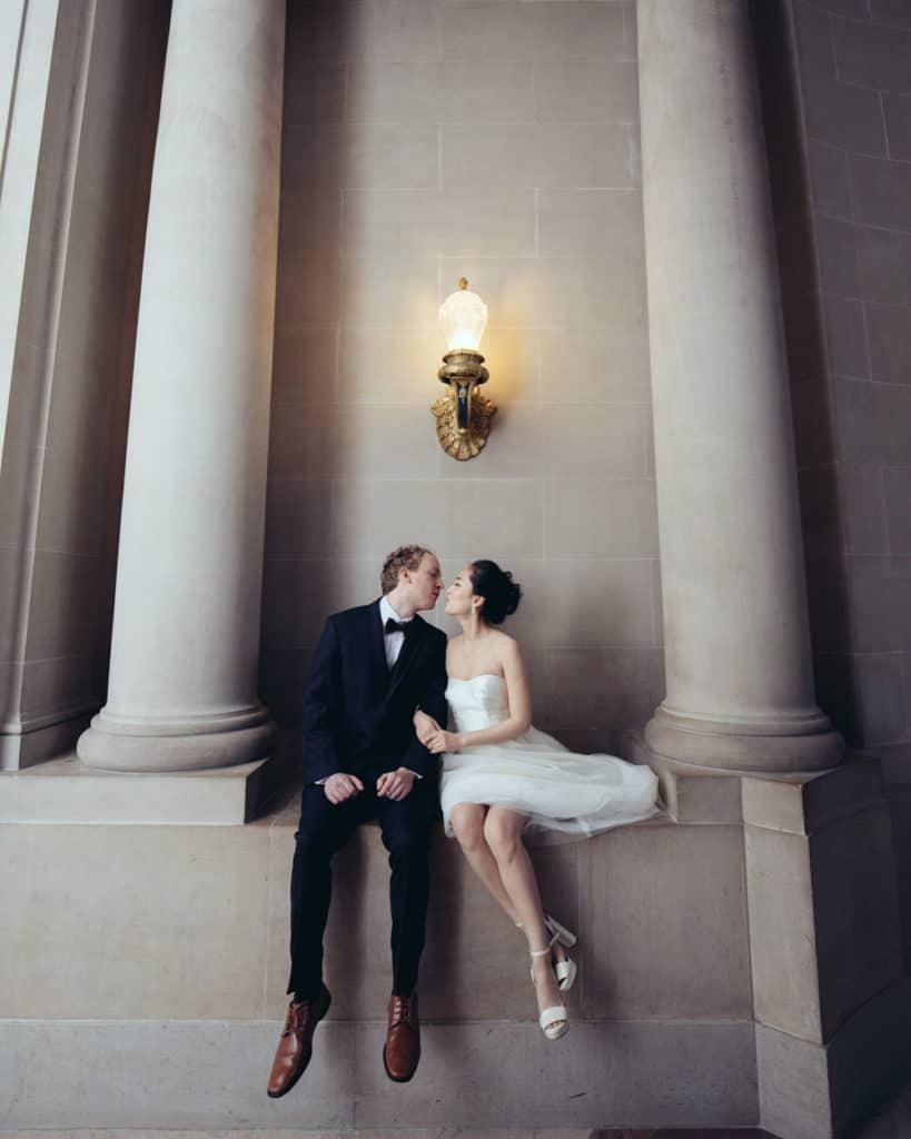 a couple sitting near the rotunda