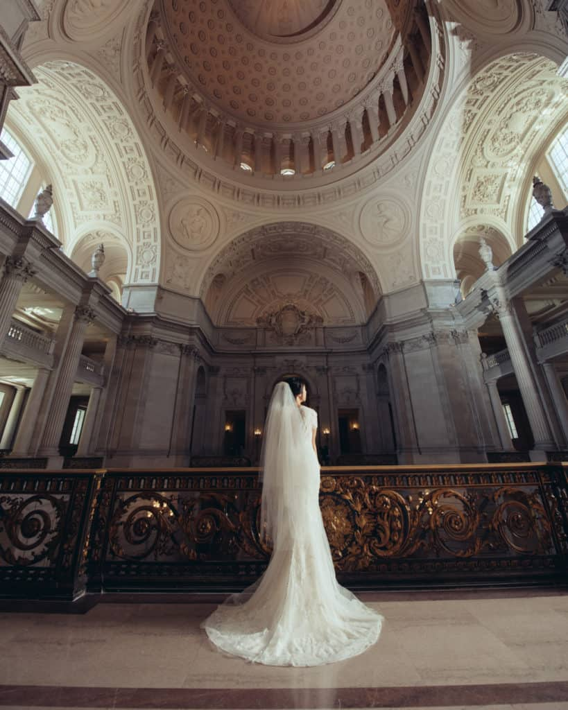a bride at the mayors balcony