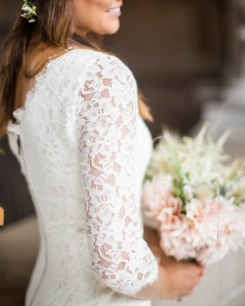 a closeup image of an intricate bridal gown texture