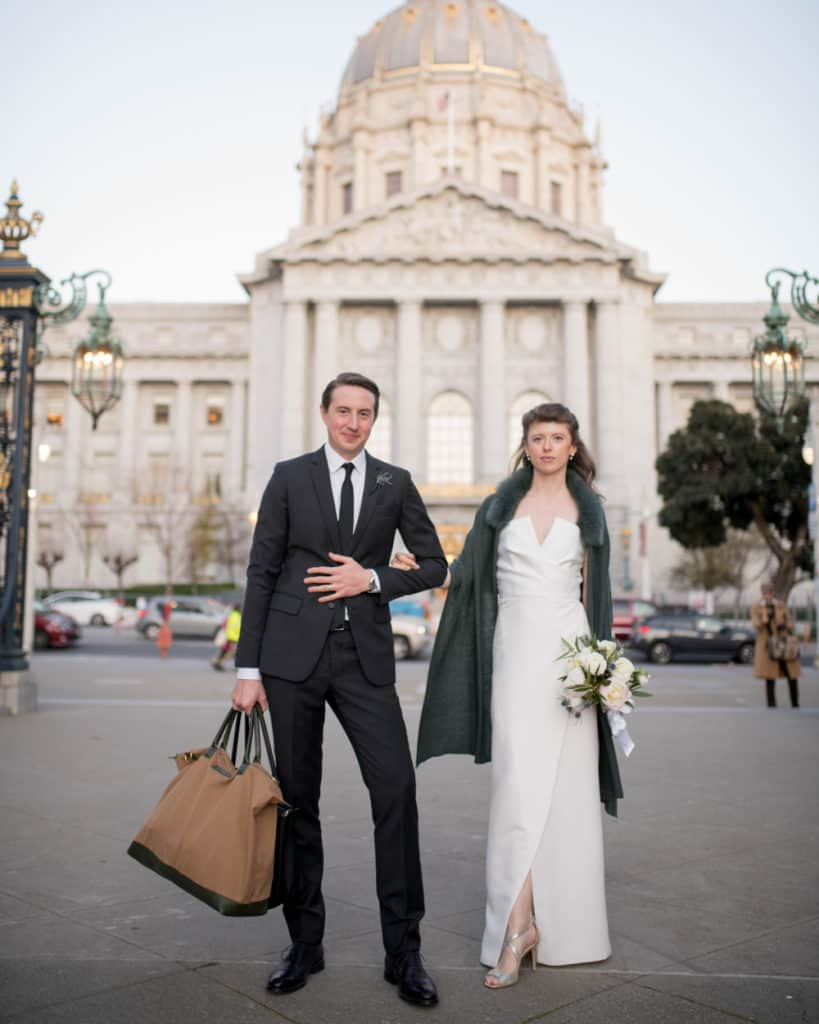 SF City Hall + Veteran Memorial park wedding couple
