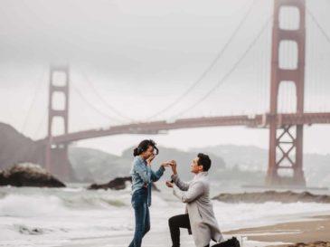 beach proposal - sf baker beach - overcast - fall